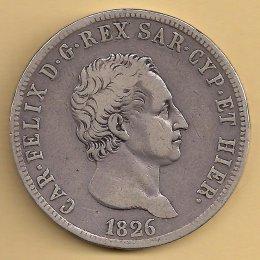 Carlo Felice (1821-1831) 5 Lire AG ...